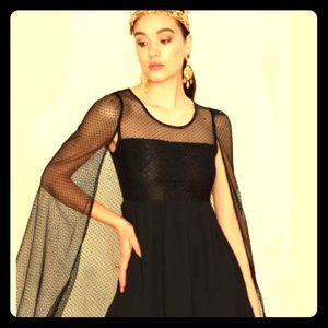 NWT!! Nasty Gal Black Cape Dress